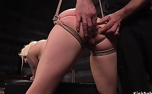 Blonde slave butt overcrowded and fucked