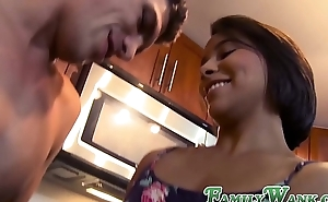 Lusty stepsister doggy styled in the kitchen by stepbro