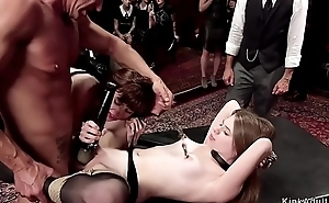 Hot babes fucked and made lick on tap orgy