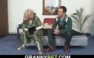 Lonely old grandma sucks and rides his cock