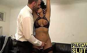 BDSM enthusiast Red Rose pumped before big cock cumshot