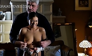 Cute servant lady gets her tits slapped