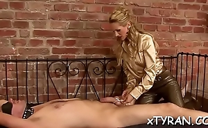 Babe gets her mouth and cunt drilled in domination fetish