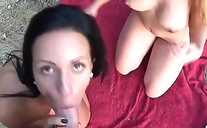 two sexy german girls with big tits codification one cock outdoor