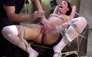 Slave in stockings gangbang fucked