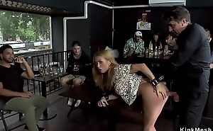 Huge tits blonde anal banged in bar