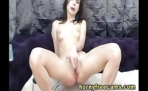 Sweet Petite Brunette Reveals Squirting Pussy