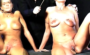 Blonde slut and chubby slave whipped with not at all bad measure