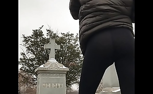 Ass in leggings outside