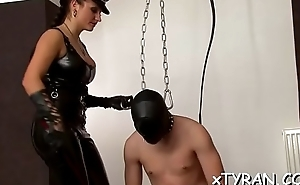 Stunning hottie gets tied up and gagged by nasty femdom-goddess
